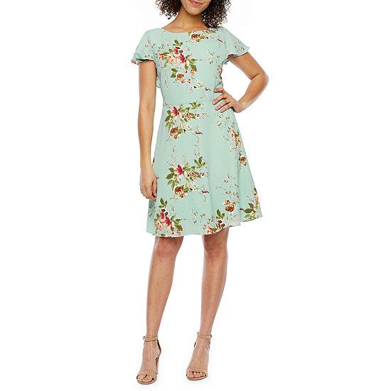 London Style Short Sleeve Fit & Flare Dress-Petite