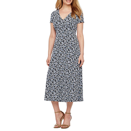 Perceptions Short Sleeve Floral Puff Print Fit & Flare Dress-Petite