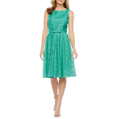 Danny & Nicole Sleeveless Lace Belted Fit & Flare Dress-Petite