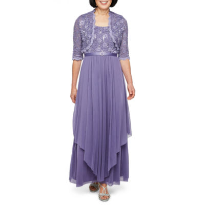 R & M Richards 3/4 Sleeve Belted Evening Gown-Petite