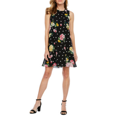 Jessica Howard Sleeveless Dots A-Line Dress-Petite