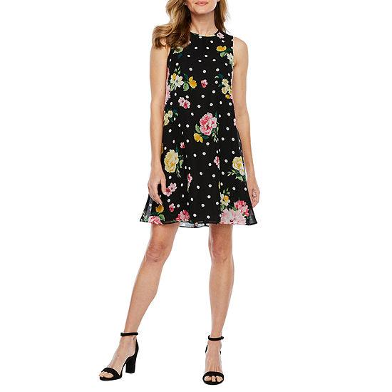 Jessica Howard Sleeveless Dots A Line Dress Petite