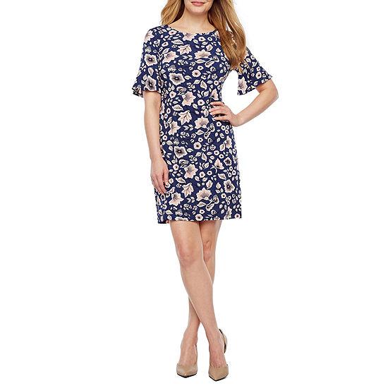 R & K Originals Short Bell Sleeve Floral Puff Print A-Line Dress-Petite