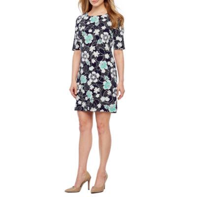 R & K Originals Short Sleeve Floral Puff Print Shift Dress-Petite