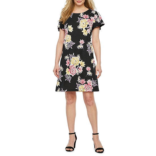 R & K Originals Short Sleeve Floral Shift Dress-Petite