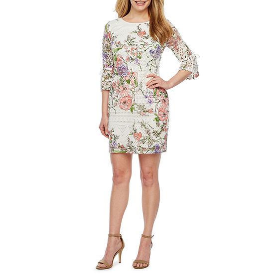 R & K Originals 3/4 Tie Sleeve Floral Lace Shift Dress-Petite
