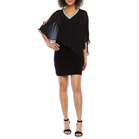 DJ Jaz Short Sleeve Embellished Cape Shift Dress