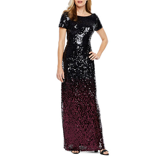 Blu Sage Short Sleeve Ombre Sequin Evening Gown