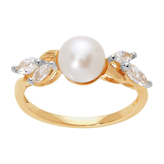 Womens 7MM Genuine White Cultured Freshwater Pearl 10K Gold Cocktail Ring