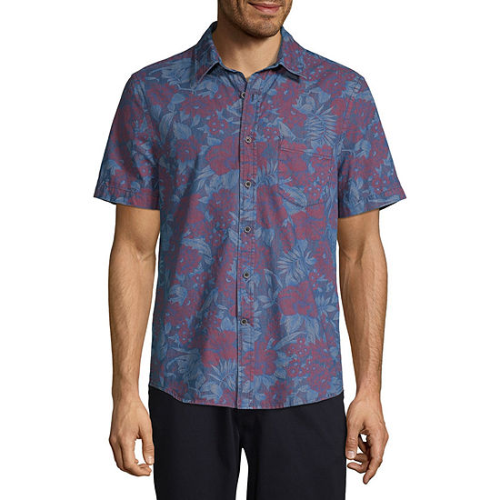 St. John's Bay No Tuck Mens Short Sleeve Floral Button-Front Shirt