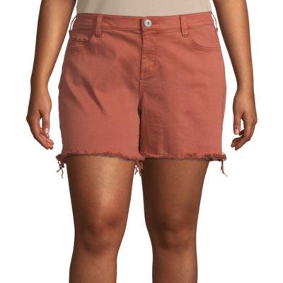 Arizona Womens Low Rise Midi Short-Juniors Plus