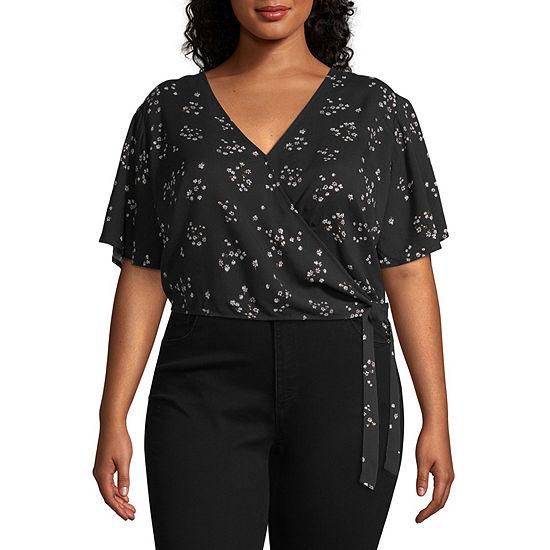 Arizona Womens V Neck Short Sleeve Wrap Shirt Juniors Plus