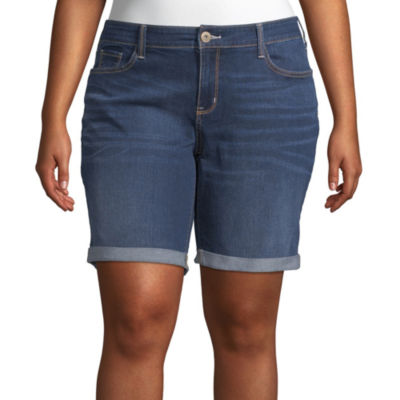 "Arizona Womens Low Rise 9"" Bermuda Short-Juniors Plus"