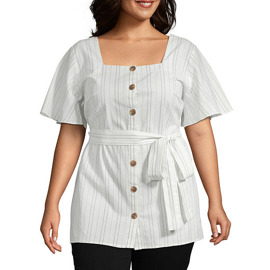 a.n.a Womens Square Neck Button Front Belted Blouse- P lus
