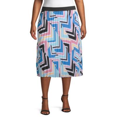 Worthington Womens Midi Pleated Skirt Plus