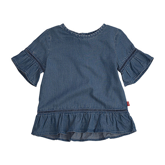 Levi's Girls Round Neck Short Sleeve T-Shirt-Toddler