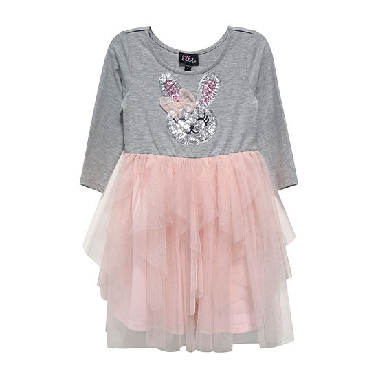 Lilt Girls 3/4 Sleeve Tutu Dress - Preschool