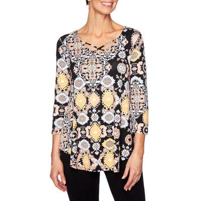 Lark Lane-Womens High Neck 3/4 Sleeve T-Shirt