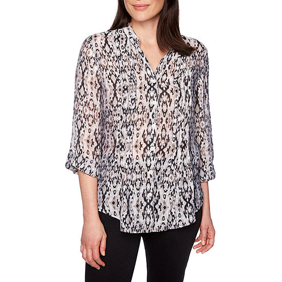 Lark Lane Womens V Neck 3/4 Sleeve Blouse