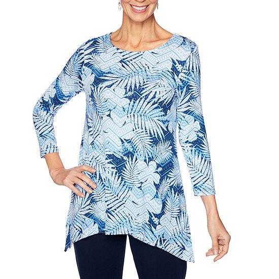 Lark Lane Womens Scoop Neck 3/4 Sleeve Tunic Top