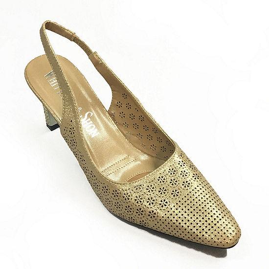 Whittall & Shon Womens Lattice Pointed Toe Cone Heel Pumps