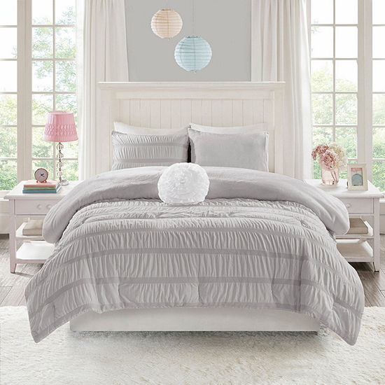 Mi Zone Diana Reversible Ruched Seersucker to Plush Comforter Set