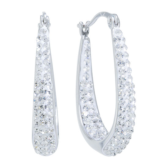 Sparkle Allure Crystal Pure Silver Over Brass Oval Hoop Earrings
