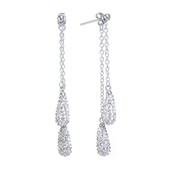 Sparkle Allure Crystal Pure Silver Over Brass Pear Drop Earrings
