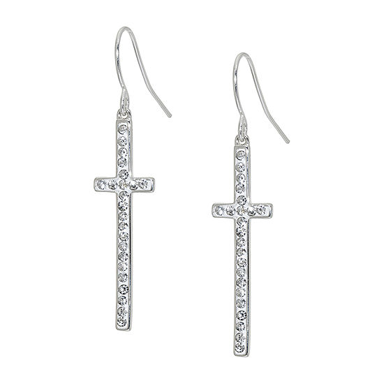 Sparkle Allure Crystal Pure Silver Over Brass Cross Drop Earrings