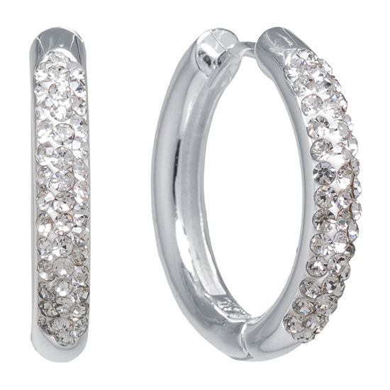 Sparkle Allure Crystal Pure Silver Over Brass Round Hoop Earrings