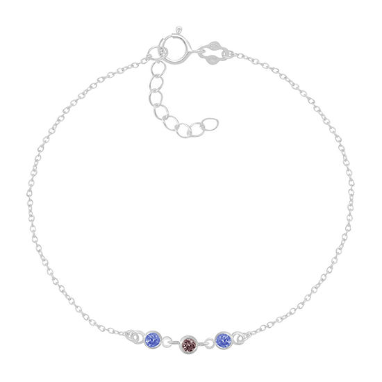Itsy Bitsy Blue Crystal Sterling Silver 9 Inch Cable Ankle Bracelet