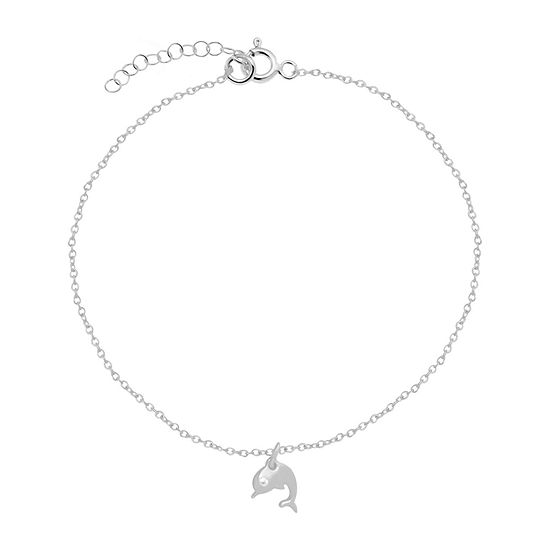 Itsy Bitsy Cubic Zirconia Sterling Silver 9 Inch Cable Ankle Bracelet