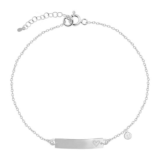 Itsy Bitsy White Cubic Zirconia Sterling Silver 9 Inch Cable Ankle Bracelet