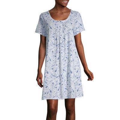 Adonna Womens Nightgown Short Sleeve Scoop Neck