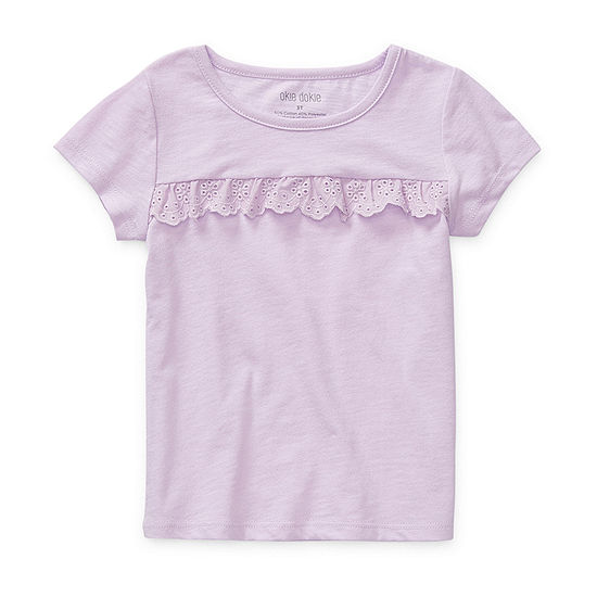 Okie Dokie Girls Round Neck Short Sleeve T-Shirt-Preschool