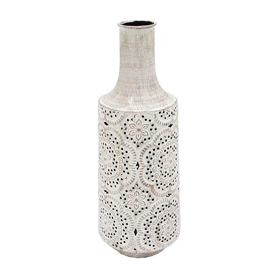 Elements 17in White Lace Embossed Metal Vase
