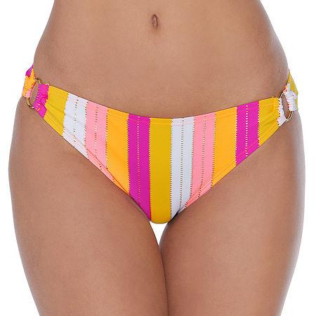 Ambrielle Striped Hipster Bikini Swimsuit Bottom, Xx-large , Orange