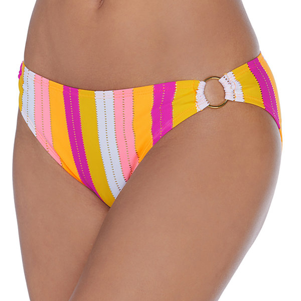 Ambrielle Striped Hipster Bikini Swimsuit Bottom