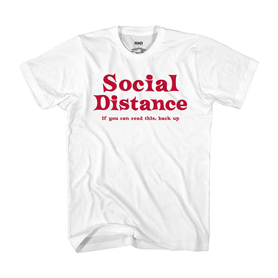 Social Distance Mens Crew Neck Short Sleeve Humor Graphic T-Shirt