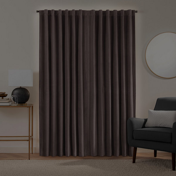 Fieldcrest Luxury Plush Washed Cotton Velvet Energy Saving 100% Blackout Back-Tab Single Curtain Panel