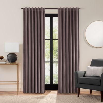 Fieldcrest Luxury Plush Washed Cotton Velvet Energy Saving 100% Blackout Back-Tab Single Curtain Panel