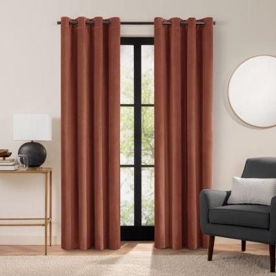 Fieldcrest Luxury Plush Washed Cotton Velvet Energy Saving 100% Blackout Grommet Top Single Curtain Panel