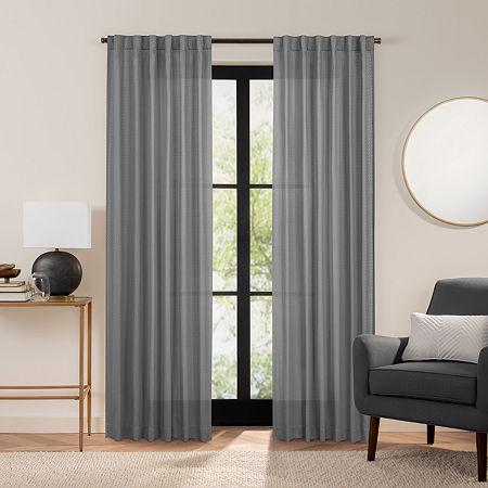 Fieldcrest Luxury Cotton Texture Light-Filtering Back-Tab Single Curtain Panel, One Size , Gray