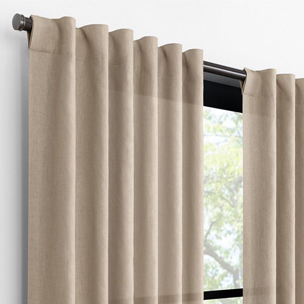 Fieldcrest Luxury Alden Linen Light-Filtering Back-Tab Single Curtain Panel