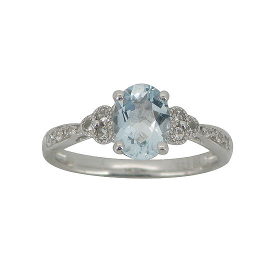 Aquamarine Lab Created White Sapphire Vintage Style Ring Sterling Silver