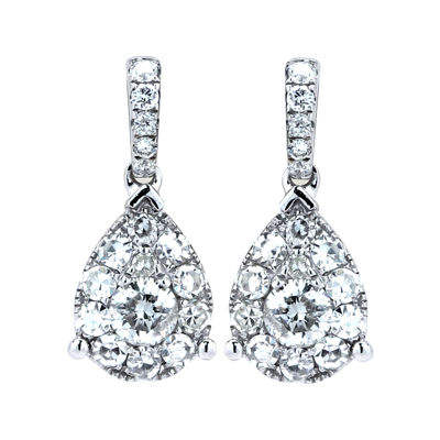 Brilliant Dream™  ½ CT. T.W. Diamond Cluster Pear Drop Earrings