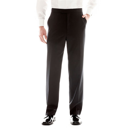 1920s Men's Evening Wear History: Tuxedos to Tailcoats Stafford Flat-Front Tuxedo Pants 29 30 Black $54.00 AT vintagedancer.com