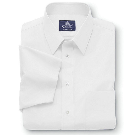 Stafford Mens Short Sleeve Travel Easy-Care Broadcloth Stretch Big and Tall Dress Shirt