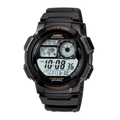 Casio® Illuminator Mens Black Bezel Digital Sport Watch AE1000W-1AV