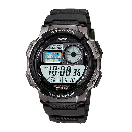 Casio® Illuminator Mens Black/Gray Bezel Digital Sport Watch AE1000W-1BV